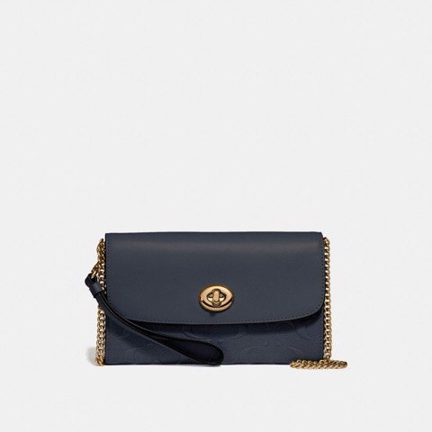 Túi COACH CHAIN CROSSBODY IN SIGNATURE LEATHER F24469 MIDNIGHT-IMITATION GOLD