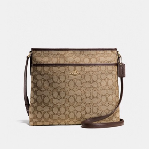 Túi COACH FILE BAG F58285 KHAKI-BROWN-IMITATION GOLD