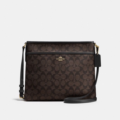 Túi COACH FILE BAG IN SIGNATURE CANVAS F58297 BROWN-BLACK-IMITATION GOLD