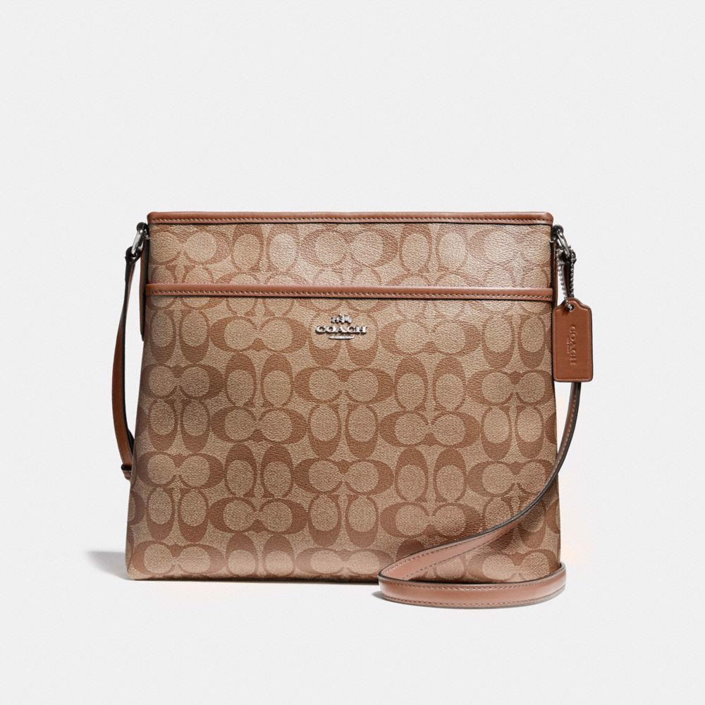 Túi COACH FILE BAG IN SIGNATURE CANVAS F58297 KHAKI-SADDLE 2-IMITATION GOLD