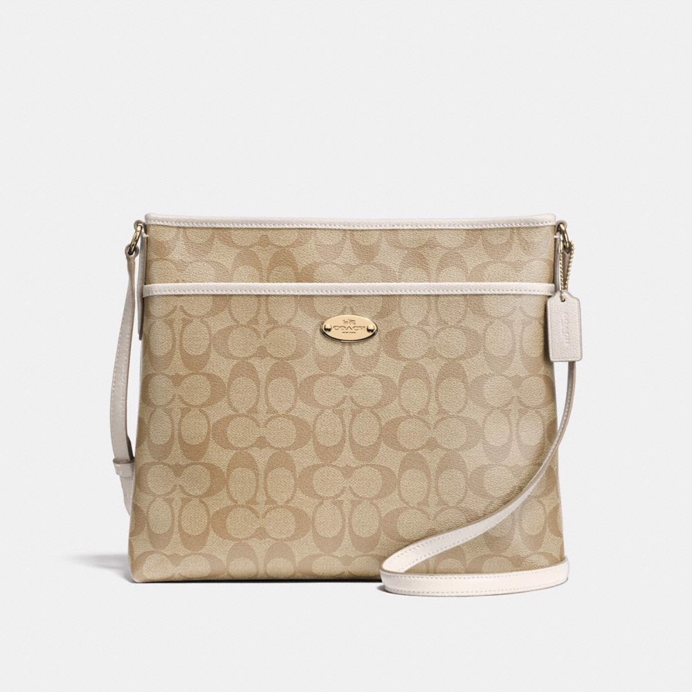 Túi COACH FILE BAG IN SIGNATURE CANVAS F58297 LIGHT KHAKI-CHALK-IMITATION GOLD