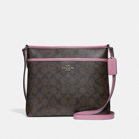 Túi COACH FILE CROSSBODY IN SIGNATURE CANVAS F29210 brown-Azalea-silver