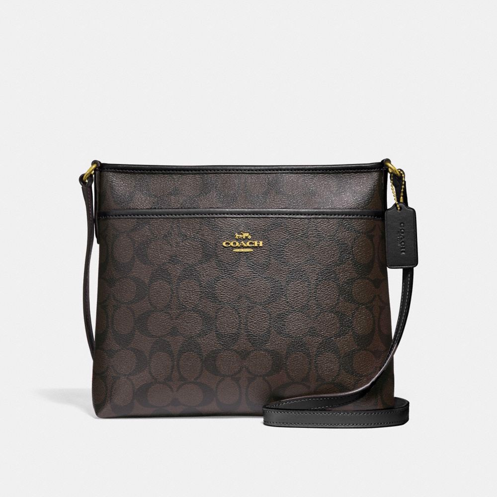 Túi COACH FILE CROSSBODY IN SIGNATURE CANVAS F29210 BROWN-BLACK-IMITATION GOLD