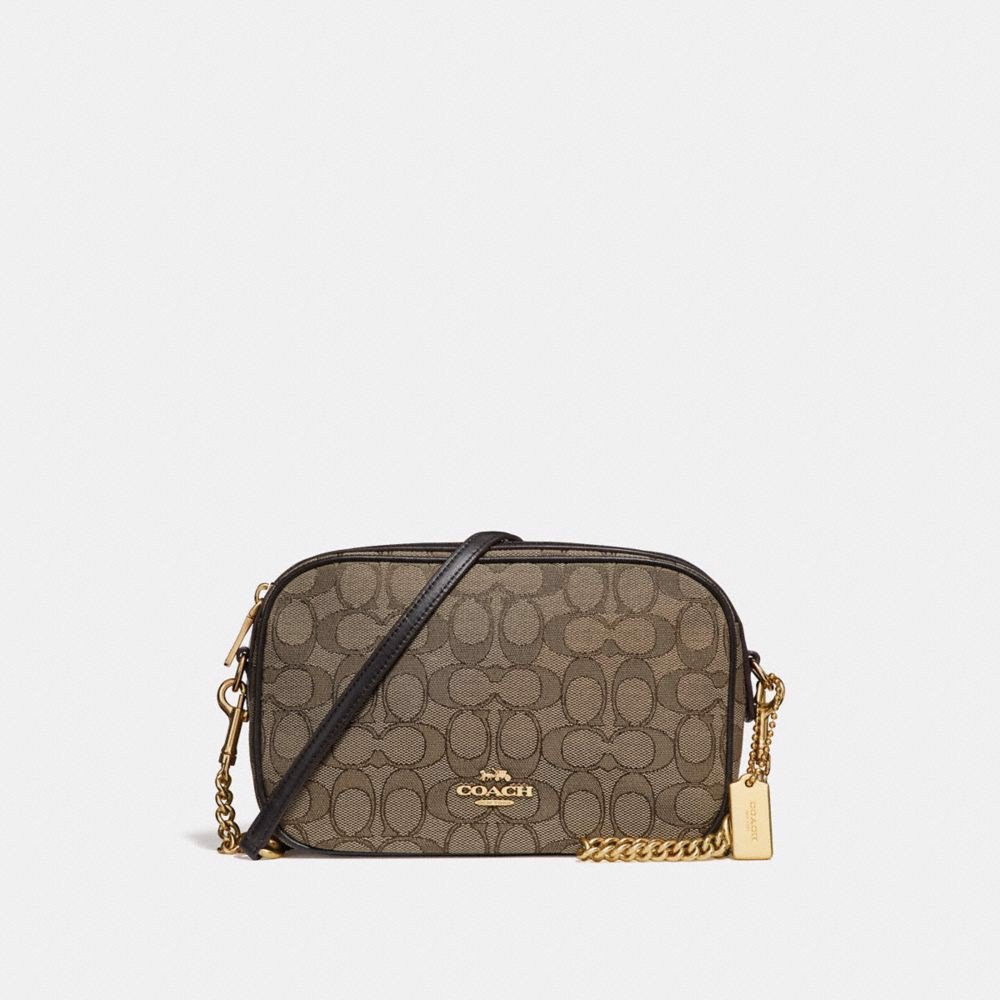 Túi COACH ISLA CHAIN CROSSBODY IN SIGNATURE JACQUARD F28959 KHAKI-BROWN-IMITATION GOLD