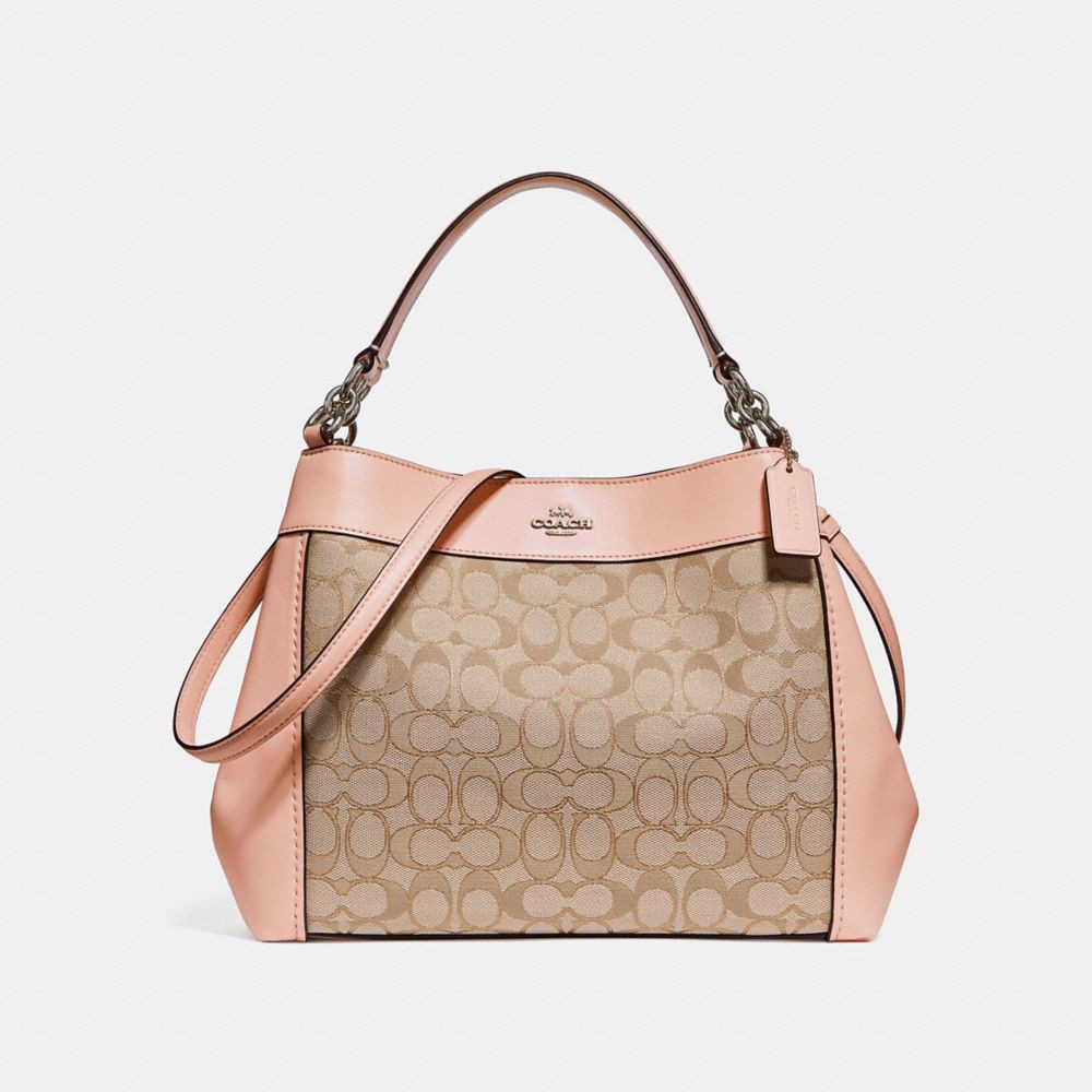 Túi COACH SMALL LEXY SHOULDER BAG IN SIGNATURE JACQUARD F29548 LIGHT KHAKI-LIGHT PINK-SILVER