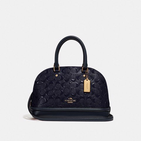 Túi COACH MINI SIERRA SATCHEL IN SIGNATURE LEATHER F27597 MIDNIGHT-IMITATION GOLD