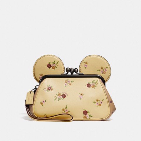 Túi COACH KISSLOCK WRISTLET WITH FLORAL MIX PRINT AND MINNIE MOUSE EARS F29360 vanilla multi-silver