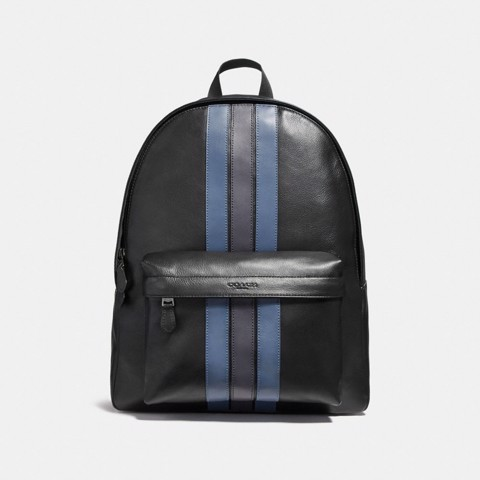 Túi COACH CHARLES BACKPACK WITH VARSITY STRIPE F23214 BLACK-DENIM-MIDNIGHT NVY-BLACK ANTIQU