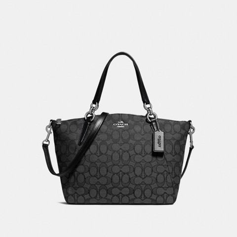 Túi COACH SMALL KELSEY SATCHEL IN SIGNATURE JACQUARD F27582 BLACK SMOKE-BLACK-SILVER