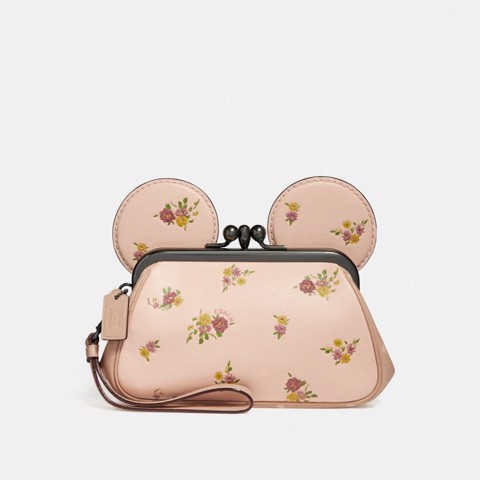 Túi COACH KISSLOCK WRISTLET WITH FLORAL MIX PRINT AND MINNIE MOUSE EARS F29360 VINTAGE PINK MULTI-LIGHT GOLD