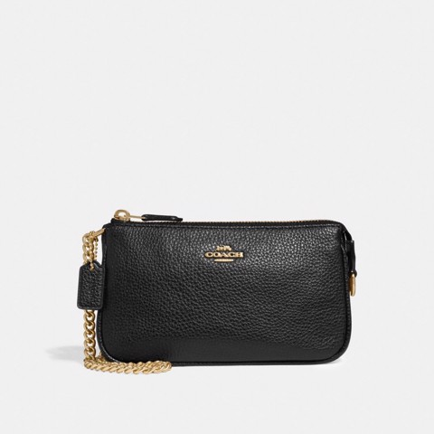 Túi COACH LARGE WRISTLET 19 F30258 BLACK-IMITATION GOLD