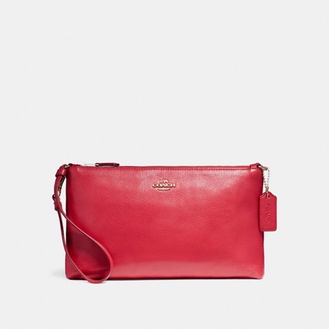 Túi COACH LARGE WRISTLET 25 F12185 TRUE RED-IMITATION GOLD