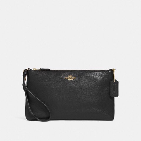 Túi COACH LARGE WRISTLET 25 F30257 BLACK-IMITATION GOLD