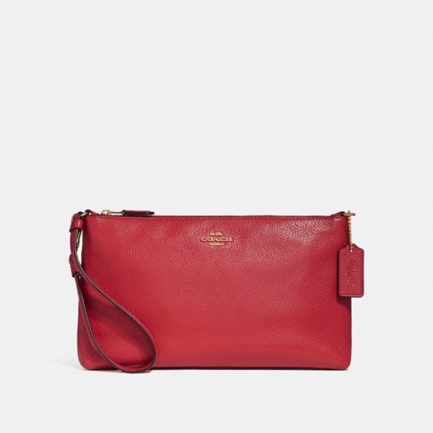 Túi COACH LARGE WRISTLET 25 F30257 TRUE RED-IMITATION GOLD