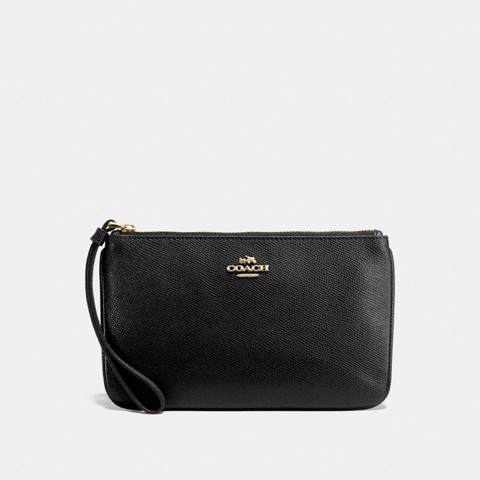 Túi COACH LARGE WRISTLET F57465 BLACK-IMITATION GOLD