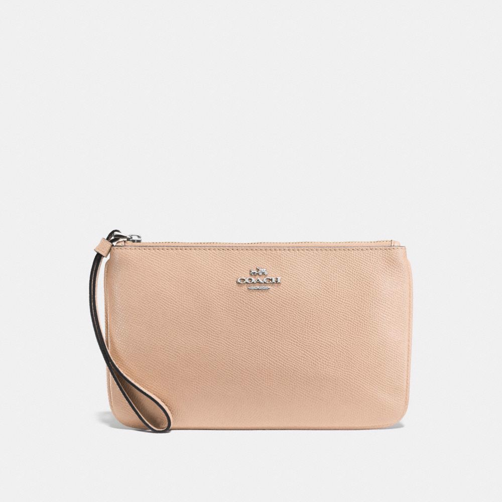 Túi COACH LARGE WRISTLET F57465 SILVER-LIGHT PINK