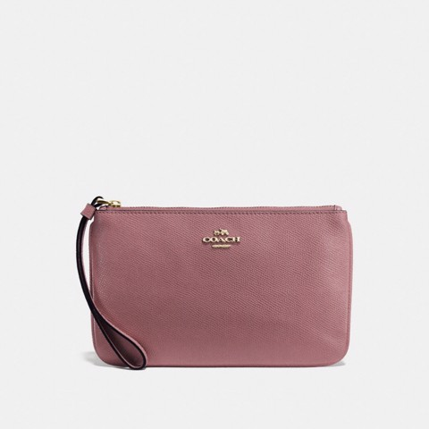 Túi COACH LARGE WRISTLET F57465 Vintage Pink-LIGHT GOLD