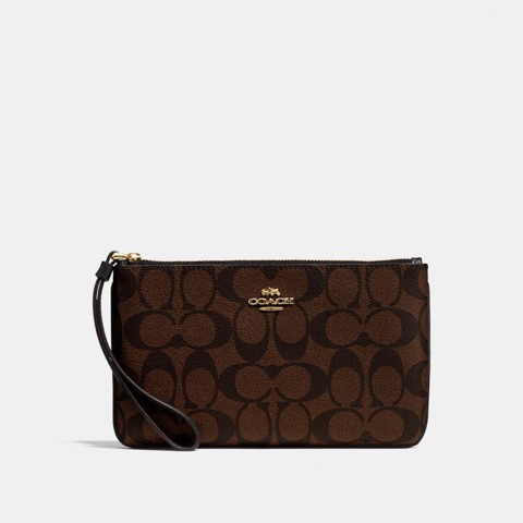 Túi COACH LARGE WRISTLET IN SIGNATURE CANVAS F58695 BROWN-BLACK-IMITATION GOLD