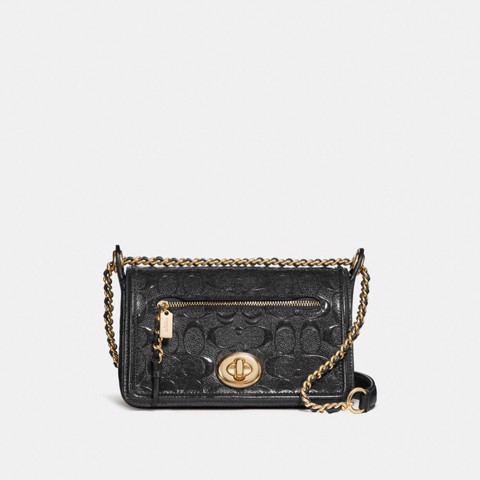 Túi COACH LEX SMALL FLAP CROSSBODY F22292 LIGHT GOLD-BLACK