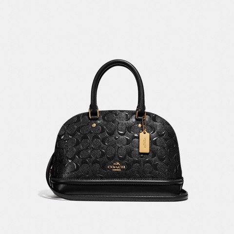Túi COACH MINI SIERRA SATCHEL IN SIGNATURE LEATHER F27597 LIGHT GOLD-BLACK