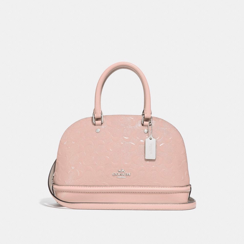 Túi COACH MINI SIERRA SATCHEL IN SIGNATURE LEATHER F27597 SILVER-LIGHT PINK