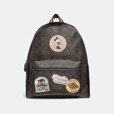 Túi COACH CHARLIE BACKPACK IN SIGNATURE CANVAS WITH MINNIE MOUSE PATCHES F29355 BROWN-BLACK-BLACK ANTIQUE NICKEL