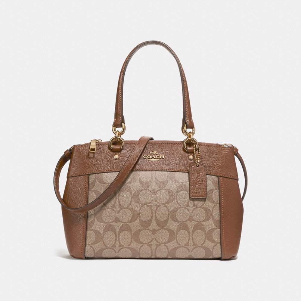 Túi COACH MINI BROOKE CARRYALL IN SIGNATURE CANVAS F26139 KHAKI-SADDLE 2-IMITATION GOLD