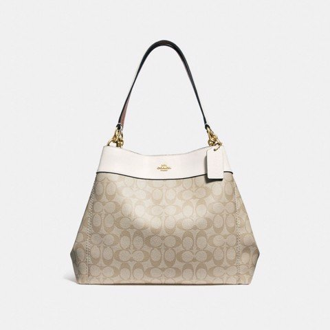 Túi COACH LEXY SHOULDER BAG IN SIGNATURE CANVAS F27972 LIGHT KHAKI-CHALK-IMITATION GOLD