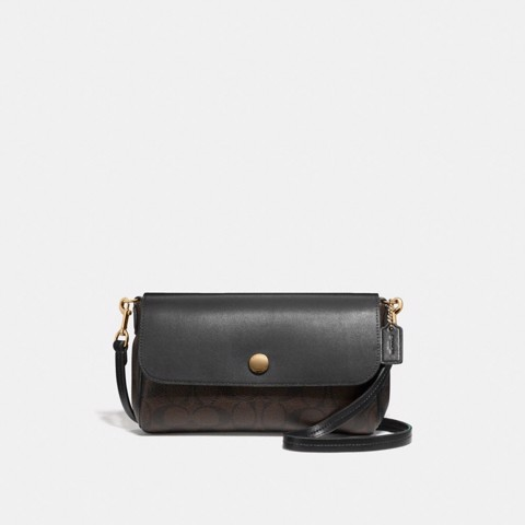 Túi COACH REVERSIBLE CROSSBODY IN SIGNATURE CANVAS F59534 BROWN-BLACK-IMITATION GOLD