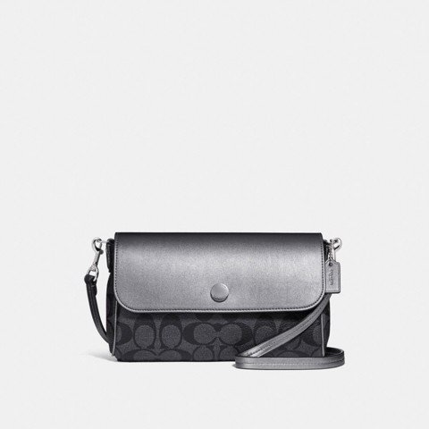 Túi COACH REVERSIBLE CROSSBODY IN SIGNATURE CANVAS F26172 BLACK SMOKE-GRAPHITE-SILVER