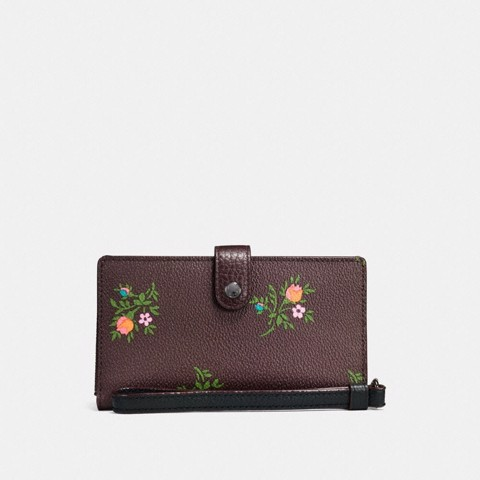 Túi Coach phone wristlet with cross stitch floral print