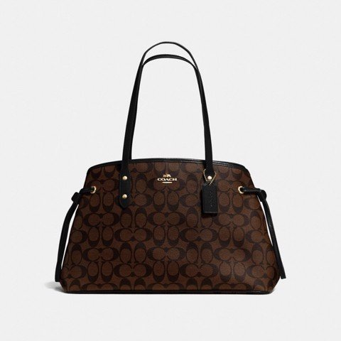 Túi COACH DRAWSTRING CARRYALL IN SIGNATURE CANVAS F57842 BROWN-BLACK-IMITATION GOLD
