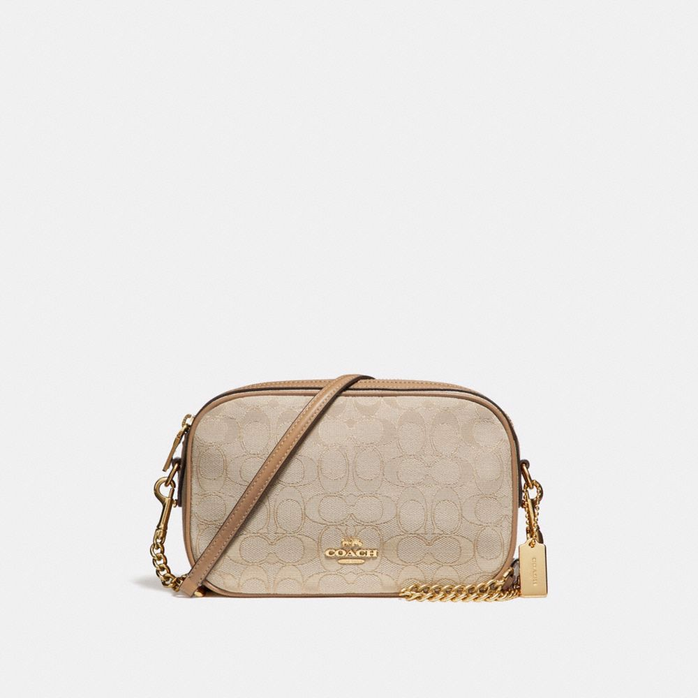 Túi COACH ISLA CHAIN CROSSBODY IN SIGNATURE JACQUARD F28959 Light khaki-Light Saddle-imitation gold