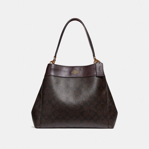 Túi COACH LEXY SHOULDER BAG IN SIGNATURE CANVAS F27972 BROWN-OXBLOOD-IMITATION GOLD