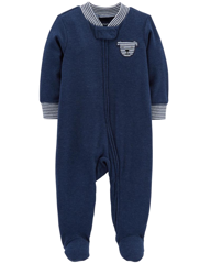 Sleepsuit cotton heathered khóa kéo