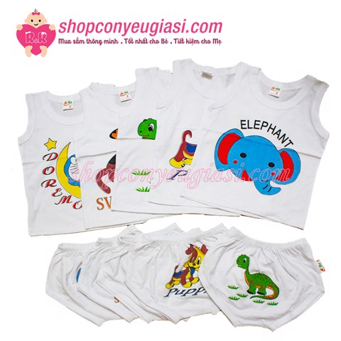 Combo 5 Bộ Sát Nách Trắng In Baby Susu - 100% Cotton