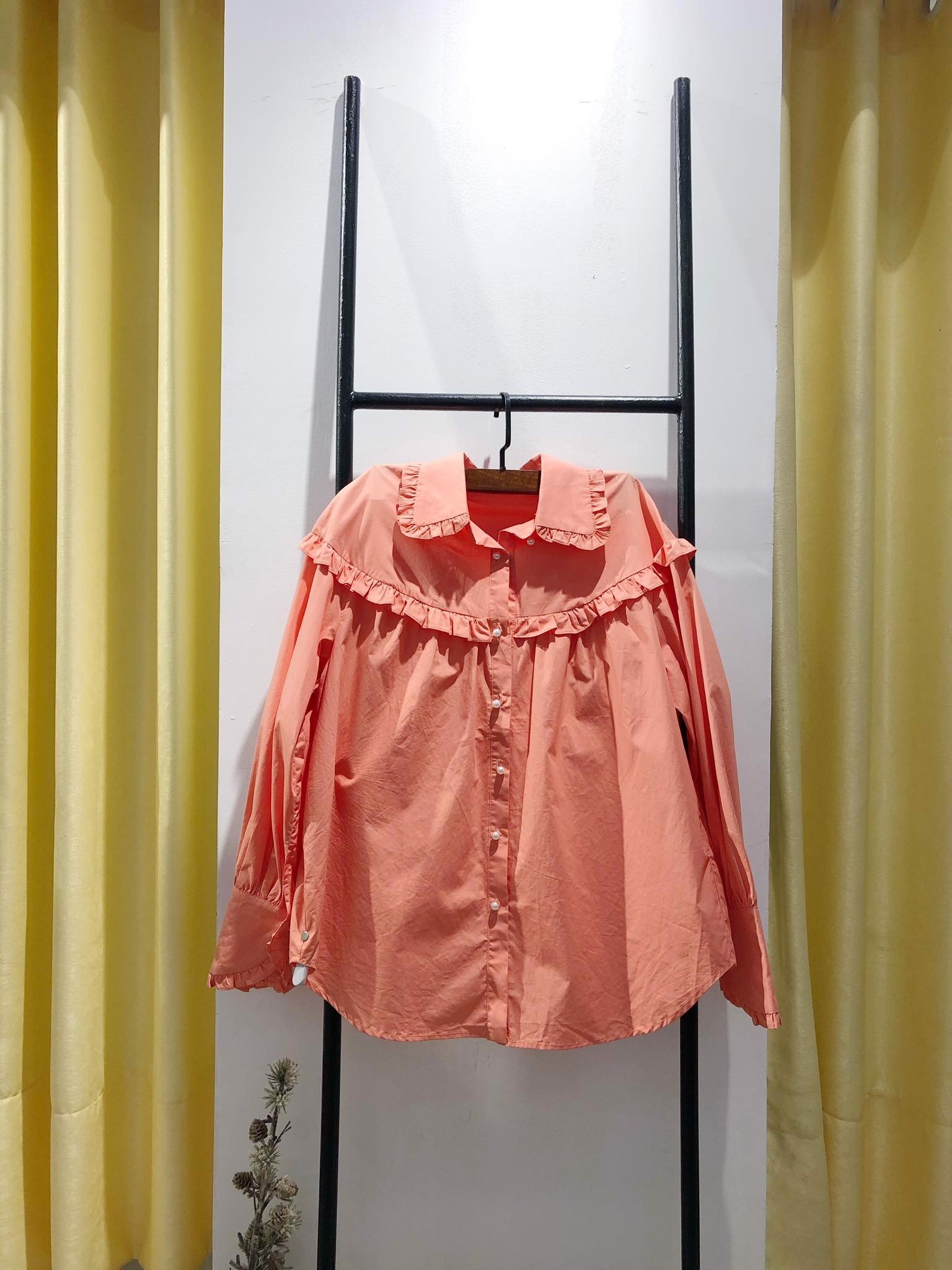 Orange Ruffle Shirt