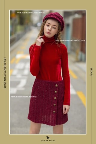 Long Sleeve Turtleneck Velvet Top