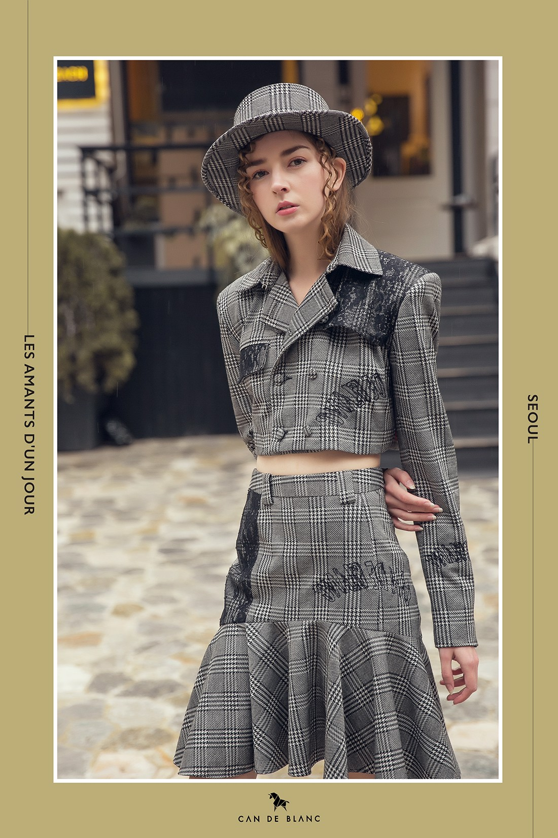 Lace Embroidery Grey Gingham Croptop Trench Coat