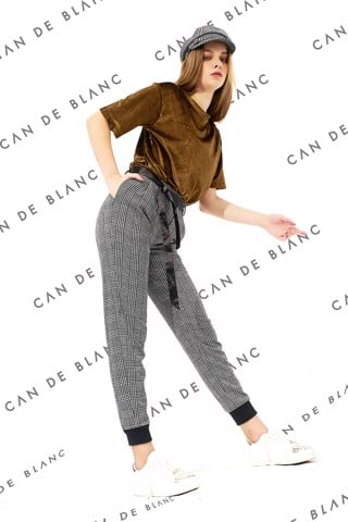 Grey Gingham Baggy Trousers With Satin Belt