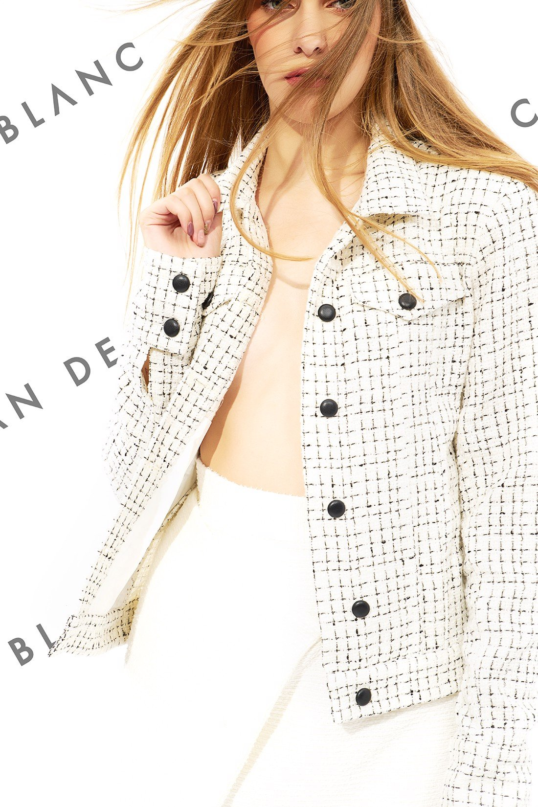 Leather Button Tweed Jacket