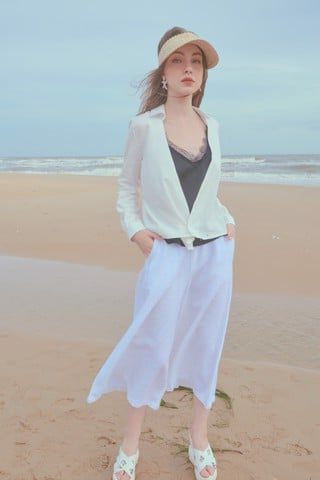 White Culott linen Pants