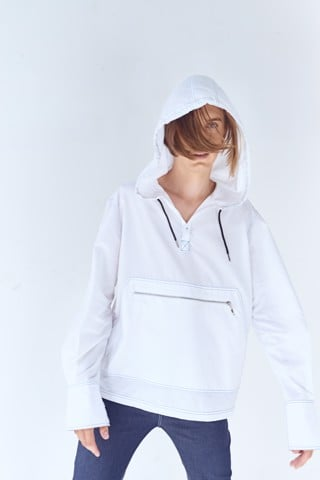 Half Button Hooded Shirt