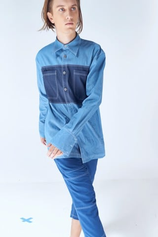 Contrast Panel Denim Shirt