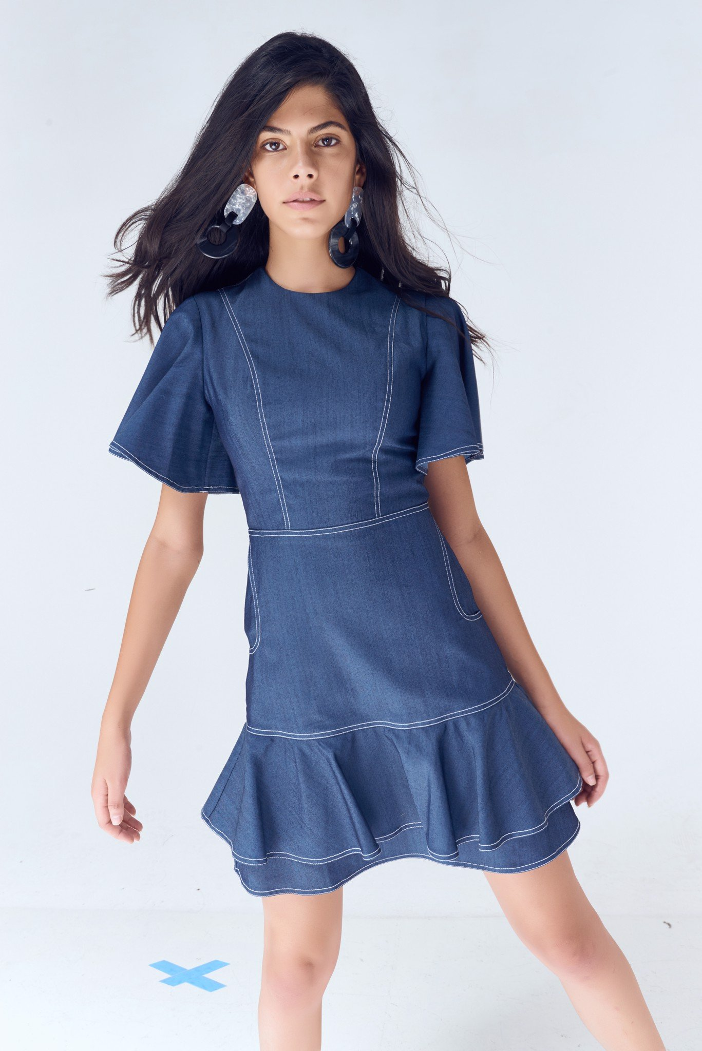 Denim Rufled Dress