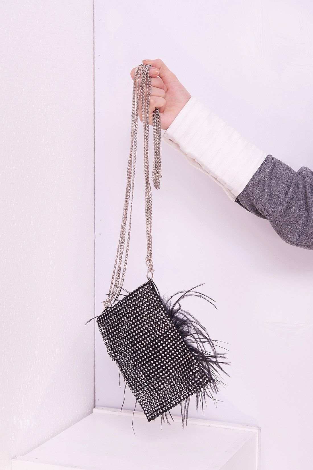 Mini Bag With Ostrich Feather