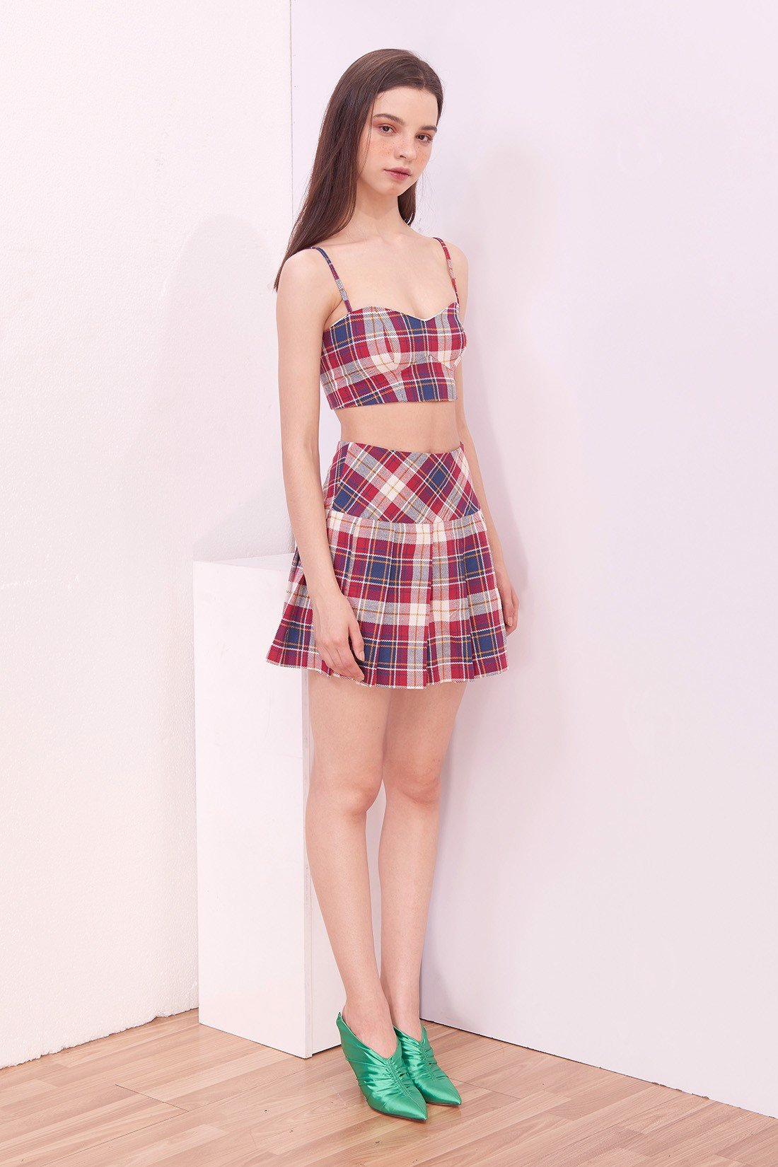 Pleated Mini Plaid Skort
