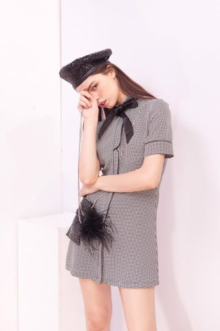 Houndstooth Dress With Neck Tie
