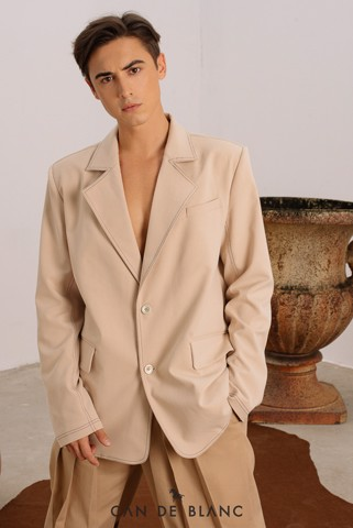 Beige Men Blazer