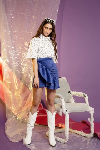 Blue Ticker Skirt